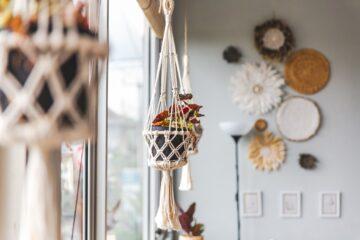 cozy window decor macrame hanging for indoor plants